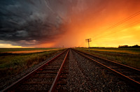 Sunset Storm Over The Railroad Tracks (2013)